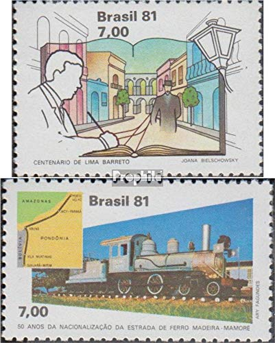 Brazil 1819,1834 (Complete.Issue.) 1981 Lima Barreto, Railway (Stamps for Collectors) Trains/Railway