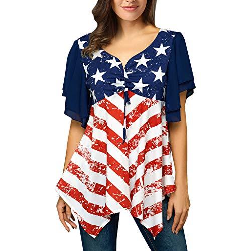 〓COOlCCI〓Womens Summer Short Sleeve Star Stripes Irregular Hem Asymmetrical Loose Fit Tunic Tops Blouse ()