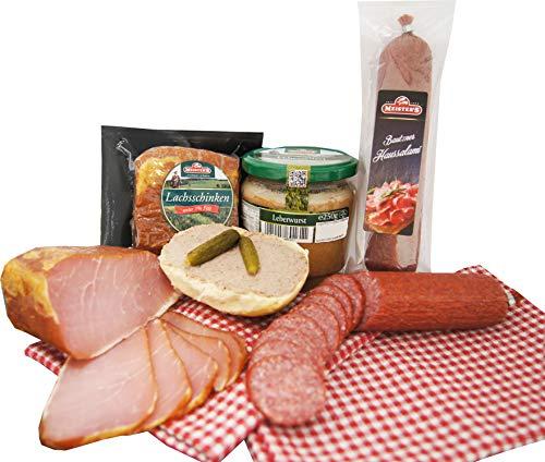 Wurstpaket Oberlausitz Geschenkset | Salami & geräucherter Schinken am Stück | Leberwurst im Glas | Premium-Qualität