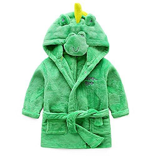 (Toddler Girl Robes,Children's Coral Fleece Bathrobes Robes Pajamas Sleepwear for Girls Boys Kids(Green Dinosaur, 2T(Fit Height 30