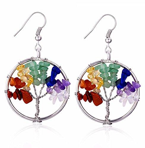 BOUTIQUELOVIN Small Tree of Life Earrings, 7 Chakra Quartz Stone Earrings, Women
