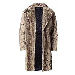 FUNOC Mens Faux Fur Coat Long Jacket Warm Overcoat Outwear Black