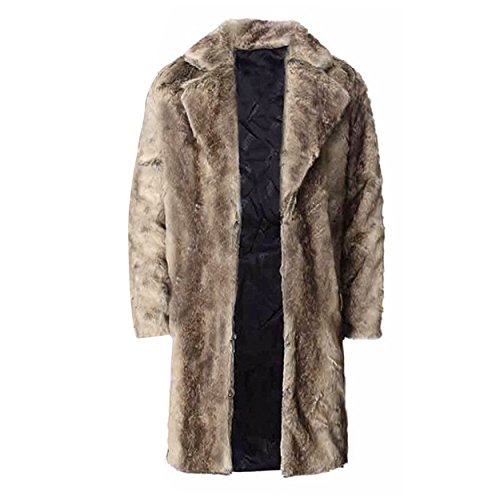 FUNOC Mens Faux Fur Coat Long Jacket Warm Overcoat Outwear Black by FUNOC