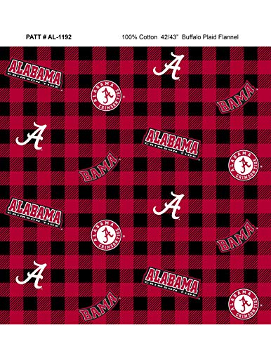 University of Alabama Flannel Fabric with Awesome Check Design-Sold by The Yard-College Flannel -
