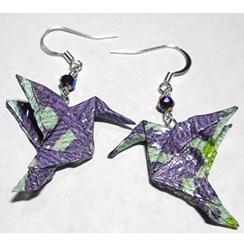 Studio Faceted Glass - Paper Origami Hummingbird w/Faceted Glass Bead Earrings, Lavender Purple Aqua, 1st Anniversary Gift