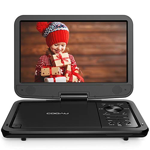 "COOAU 12.5"" Portable DVD Player with HD Swivel Screen, 5 Hours Built-in Rechargeable Battery, Region Free, Support USB…"