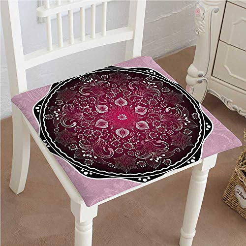 Mikihome Chair Pads Classic Design Classic Baroque Inspired Eastern Pattern with Renaissance Effect Maroon Baby Pink Black Cotton Canvas Futon ()