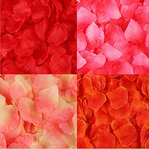 SMYLLS 2000 PCS Silk Rose Petals Wedding Flower Decoration,Assorted Colors for Wedding Party and Valentine's Day