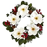 "Custom & Unique (26"" Inches) 1 Single Mid-Size Decorative Holiday Wreath for Door, Made of Resin & Fabric w/ Magnolia Flowers, Berries, Pine Cones & Branches Style (Red, Yellow, Green, White, & Brown)"