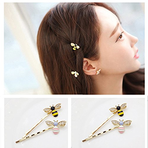 QTMY 4 PCS Metal Cute Bee Hairpin Hair Clips Hair - Accessories Bees