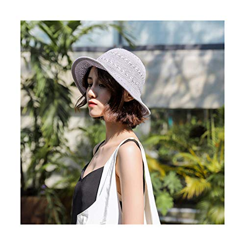 ZHANGHUIQIN Breathable Soft Spring and Summer Fisherman hat with Bow and Straw hat Knit Seaside Holiday Sunhat, 57cm, Brown 13