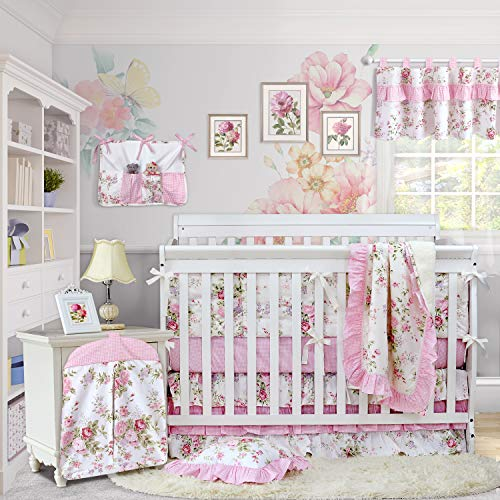 Brandream Baby Girls Crib Bedding Sets with Bumpers Blossom Pink Watercolor Floral Nursery Baby Bedding Crib Sets, 11pieces