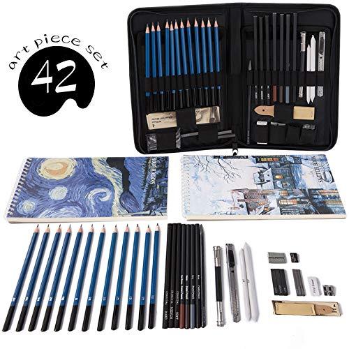 Professional Art Set Drawing and Sketching Set- Drawing, Sketching and Charcoal Pencils (42pcs) by Cool Bank