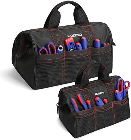 Workpro Tool Bags 2 Piece Toolbag Organizer Wide Open Mouth Storage 32cm 45cm Amazon Co Uk Diy Tools