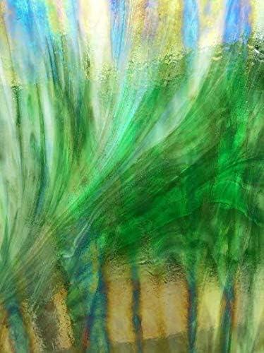 Dark Green Wispy Opal Iridized Wissmach Sheet Stained Glass
