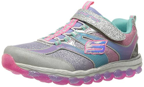 Skechers Kids Girls' Skech-Air Ultra-Glam IT up Sneaker, Silver/Multi, 11 M US Little Kid
