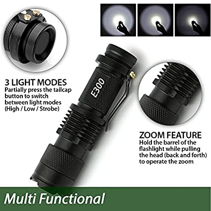 Water Resistant E300-3PK Zoomable Best Camping EcoGear FX E300 Small Handheld Light with 3 Light Modes Everyday Flashlights 3 PACK Perfect Gift for Men Bright Mini LED Tactical Flashlight Outdoor