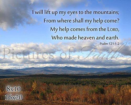 I Will Lift Up Mine Eyes - Autumn Mountains Photo with Psalm 121:1-2 - Print or Plaque 5x7, 8x10, 11x14, or 16x20