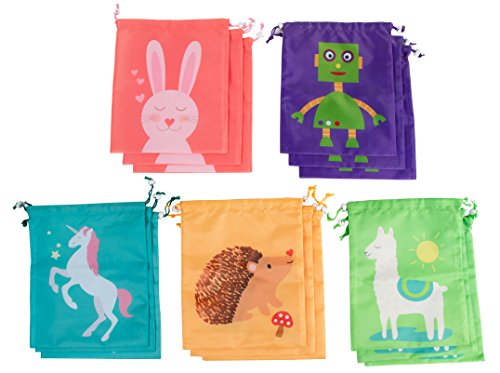 Drawstring Bags - 15-Pack Party Favor Bag for Kids Birthday, Baby Shower - Giveaway Gift Bag, Goodie Bag, Treat Bags Party Supplies - 5 Designs, Unicorn, Hedgehog, Bunny, Robot, Llama, 10 x 12 Inches