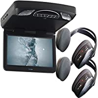 Audiovox Overhead Bundle with MTG13UHD 13.3 Monitor Built-In DVD and Headphones
