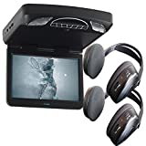Audiovox Overhead Bundle with MTG13UHD 13.3'' Monitor Built-In DVD and Headphones