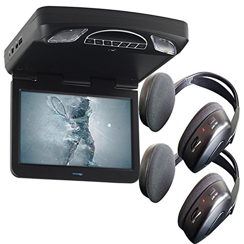 Audiovox Overhead Bundle with MTG13UHD 13.3″ Monitor Built-In DVD and Headphones