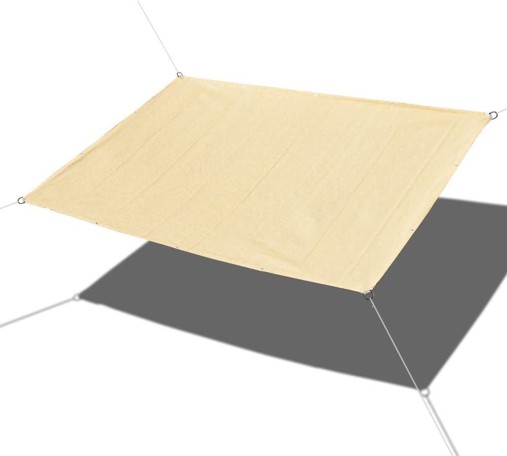 Alion Home Custom Straight Edges 180GSM HDPE UV Block Sun Shade Sail Permeable Canopy for Pool Outdoor Patio Garden (12' x 12') - Beige Tan