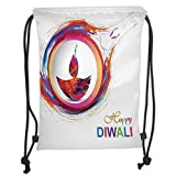 Custom Printed Drawstring Sack Backpacks Bags,Diwali Decor,Rainbow Themed Colored Modern Image of Diwali Celebration Candle Fire Print,Multicolor Soft Satin,5 Liter Capacity,Adjustable String Closure,
