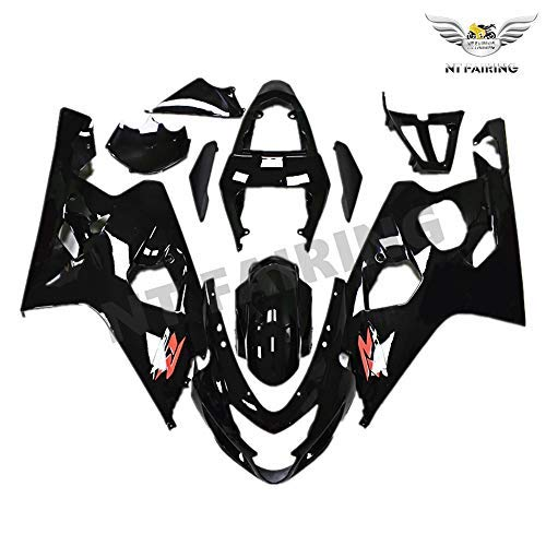 NT FAIRING Glossy Black Injection Mold Fairings Fit for Suzuki 2004 2005  GSXR 600 750 K4 04 05 GSX-R600 Aftermarket Painted Kit ABS Plastic  Motorcycle