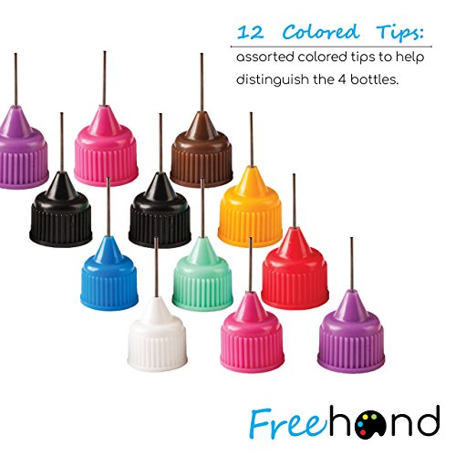 Precision Tip Applicator Bottles - 4 Bottles and 12 Tips - DIY Quilling, Glue Applicator, Oiler Bottle, and Alcohol Ink to Use on Yupo Paper