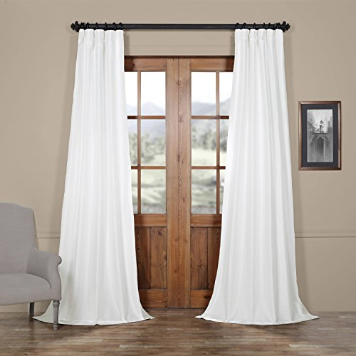 Half Price Drapes PTCH-JTSP29-108 Faux Silk Taffeta Curtain, White