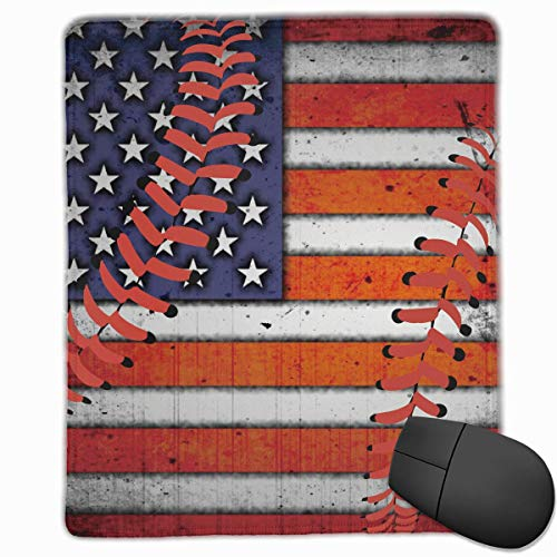 USA Flag Baseball Stitches Quality Comfortable Game Base Mouse Pad with Stitched Edges -