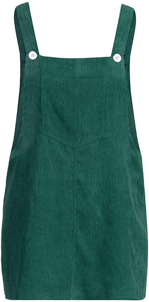 Women Girls Casual Corduroy Straight Suspender Mini Bib Overall Pinafore Pocket Solid Dress