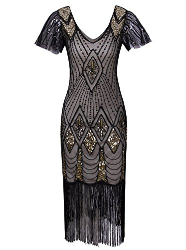 Vijiv Women 1920s Gastby Beaded Sequin Art Deco Embellished Flapper Dress With Sleeves, Beige Gold, Medium ()