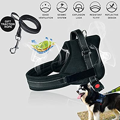 Dog Harness No Pull Harness Pet Padded Vest Adjustable Reflective Comfort Control for Large Dogs in Training Walking - No More Pulling Tugging or Choking