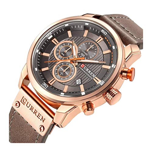 Men Leather Strap Military Watches Men's Chronograph Waterproof Sport Wrist Date Quartz Wristwatch (Rose Gold & Gray)