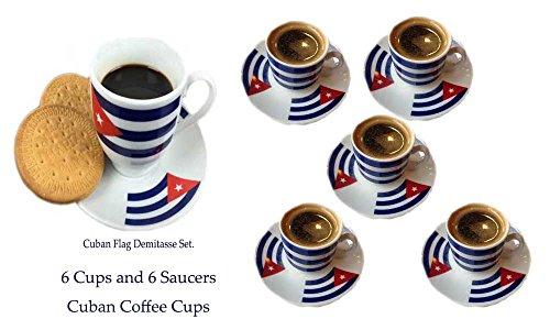 Cuban Flag Demitasse Set. 6 cups, 6 saucers. Total 12 Pieces.
