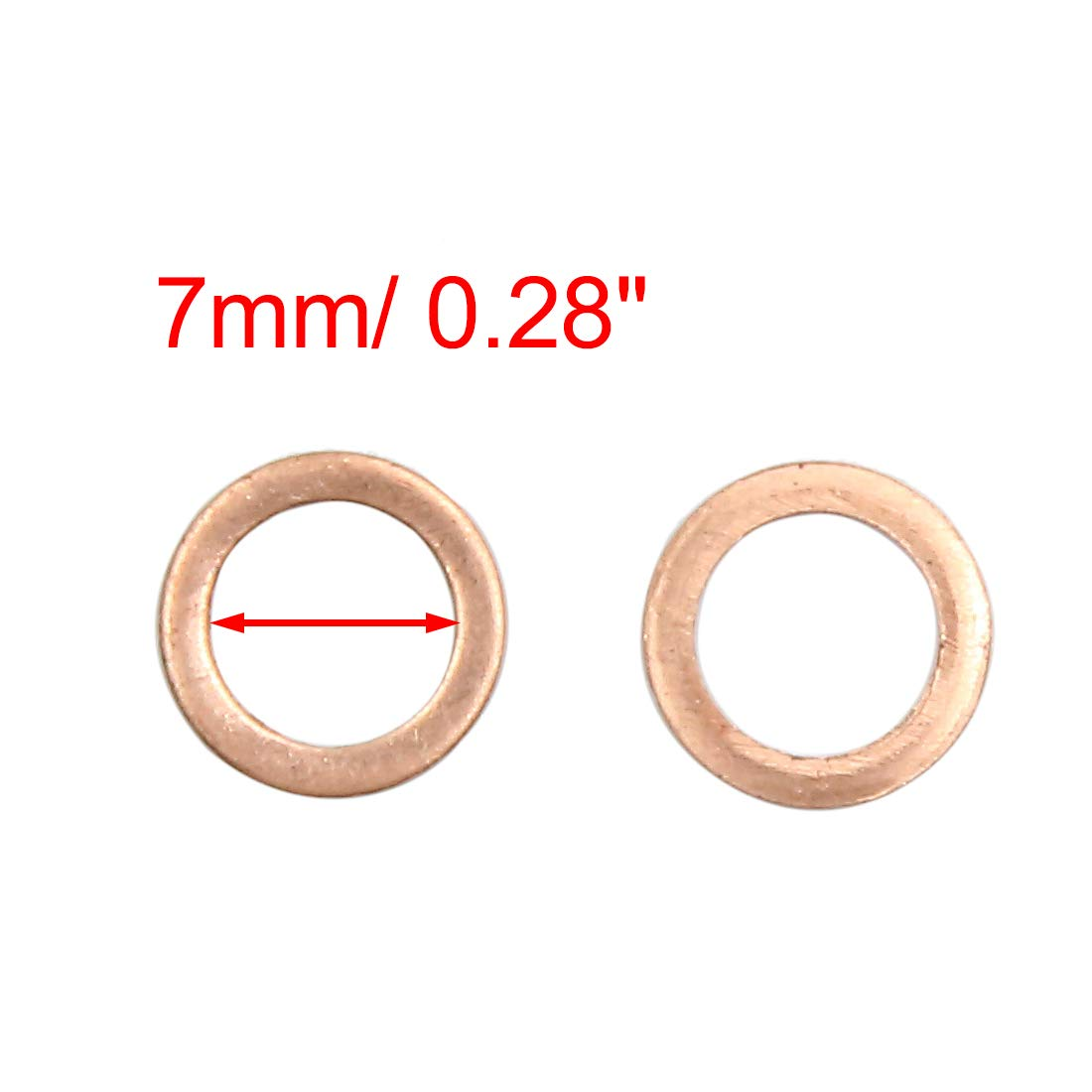 X AUTOHAUX 40pcs 7mm Inner Diameter Copper Washers Flat Sealing Gaskets Rings