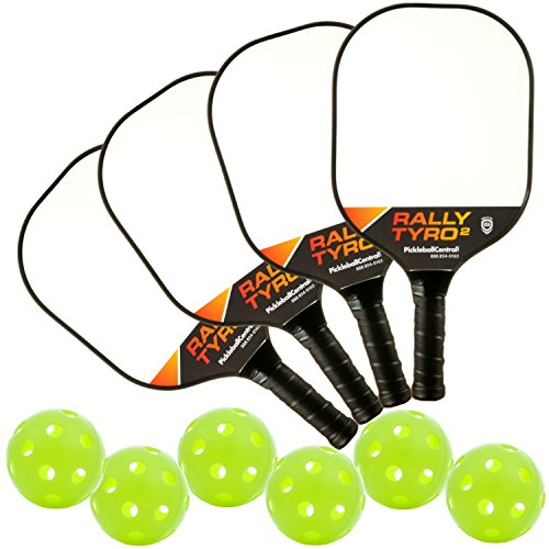 Rally Tyro 2 Advanced Composite Pickleball Paddle Bundle 4 - Set Includes 4 Paddles & 6 Pickleballs