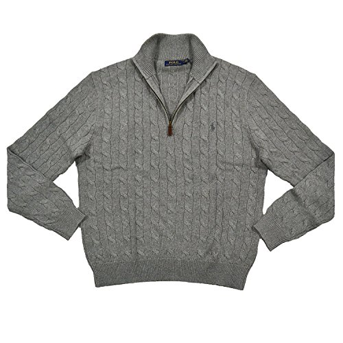 Polo Ralph Lauren Men's 1/3 Zip Cotton Cable Sweater (XXL, Grey) - Half Zip Winter Sweater