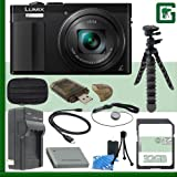 Panasonic Lumix DMC-ZS50 Digital Camera (Black) + 32GB Greens Camera Bundle 1