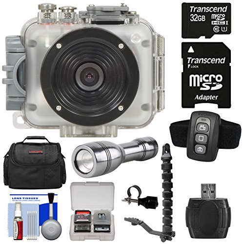 Intova Connex 1080p HD Waterproof Video Action Camera Camcorder (200 ft/ 60m) with Remote + 32GB Card + Case + LED Flashlight Torch + Flex Arm & Bracket + Kit (Intova Torch)