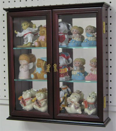 Marvelous Small Wall Mounted Curio Cabinet / Wall Display Case With Glass Door  (Mahogany Finish)
