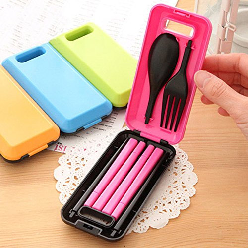 mk. park - Outdoor Travel Tableware Spoon Fork Chopsticks Storage Box Dinnerware Set (Pink)