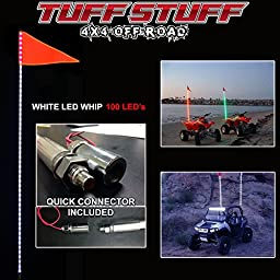 Tuff Stuff 6\' Atv Utv Truck White LED Whip Light & Safety Flag