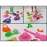 Pack Set of 10 Barbie Sindy doll items: shoes boots & accessories: hangers, mirror, comb, brush, hat, crown, tiara - by Fat-Catz