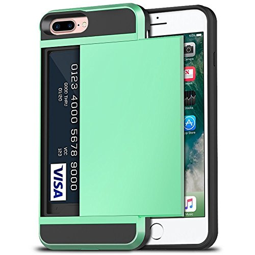 iPhone 7 Plus Case, iPhone 8 Plus Case, Anuck Shockproof iPhone 7/8 Plus Wallet Case [Card Pocket][Slide Cover] Anti-scratch Protective Shell Armor Rubber Bumper Case with Card Slot Holder -Mint Green