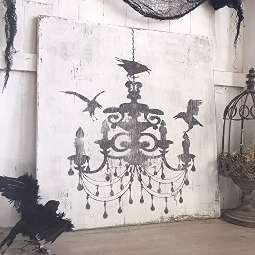 WoodSign MarthaFox Chandelier Crows Vintage Halloween Sign Halloween Silhouette