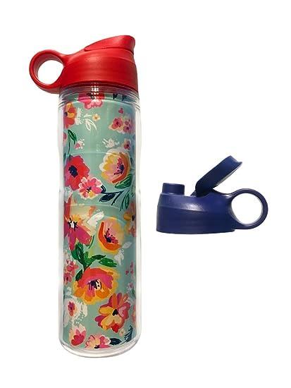 Amazon.com: Animado. Azul Floral Acuarela botella de deporte ...