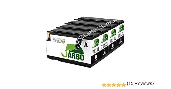 jarbo 711 XL Repuestos para HP 711 711 x l Cartuchos de Tinta Alta Capacidad Compatible con HP Designjet T120 T520 Serie (1 negro, 1 Cian, 1 magenta, 1 amarillo), color 4 Nero: Amazon.es: Oficina y papelería